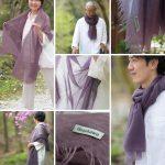 [新発売]伝統の細川毛織が織り成した、カシミヤストール紫苑色