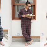 [新発売]NOWHAWノウハウ ドビー生地のオンブレチェック柄のパジャマ/ワンピース/ナイトキャップ